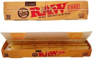Raw Classic Natural Unrefined 1 1/4 Pre-Rolled Rolling Paper Cones 32 Per Box