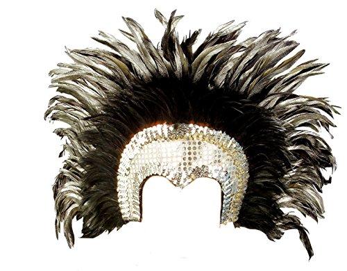 Widmann - Gorro de plumas para disfraz de carnaval brasileño PS 19663 plateado Talla única