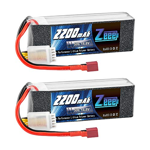 Zeee 14.8V 2200mAh 50C 4S Lipo Battery with Deans T Connector for RC Car Boat Truck Helicopter Airplane UAV Drone FPV RC Hobby (2 Pack)