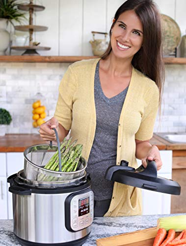 Top Rated Hatrigo Steamer Basket for Pressure Cooker Accessories 8qt [3qt 6qt avail] Compatible with Instant Pot Accessories Ninja Foodi, Strainer Insert with Silicone Handle, IP 8 Quart