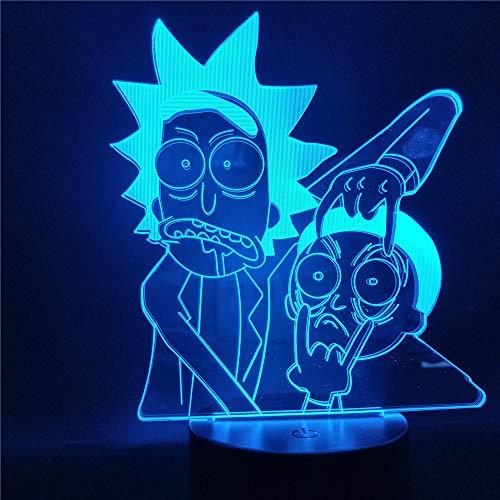 jiushixw 3D acryl nachtlampje met afstandsbediening kleurverandering lamp cartoon kind slaapkamer tafellamp Fado