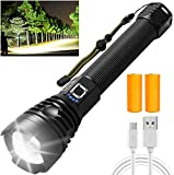 90000 High Lumens LED Rechargeable Flashlights, Super Bright Tactical Flashlights with Batteries, 3 Light Modes, Zoomable, IPX6 Waterproof, Powerful Torch for Emergencies, Camping, Hiking, Outdoors