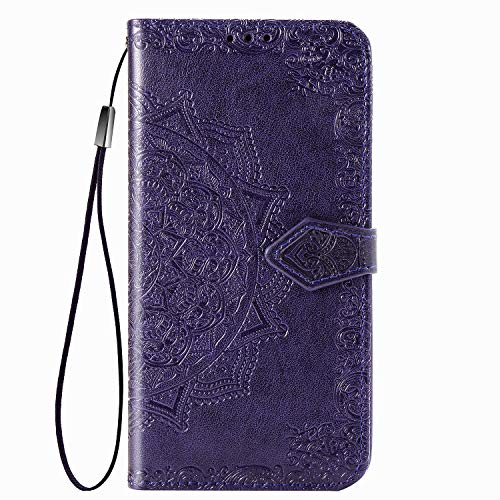 UILY Case Compatibel for Xiaomi Redmi Note 10 Pro, Ultra Thin Flip PU Leather Wallet Cover, Printing Mandala Pattern Bracket Function Shell. Purple