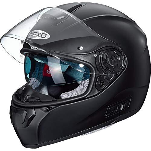 Nexo Integralhelm Motorradhelm Helm Motorrad Mopedhelm Comfort, Integralhelm mit Sonnenblende, 1.500 g, klares, kratzfestes Visier, Belüftung, Ratschenverschluss, matt Schwarz, XL