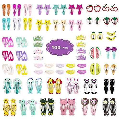 Clips de Pelo para Niñas, ZWOOS 100 Piezas Horquillas Multicolor Metal Infantiles Clip Pinza Dulce de Pelo Accesorios Cabello para Bebe Niñas Infantiles
