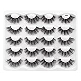 Hannahool 10 Pairs 3D Natural False Eyelashes Reusable Fluffy Cross Faux Mink Long Stripe Lashes Makeup Volume Eye Lashes Exensions (Y02)