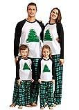 IFFEI Matching Family Pajamas Sets Christmas PJ's Holiday Christmas Tree Printed Sleepwear with Plaid Bottom 4-5 Years