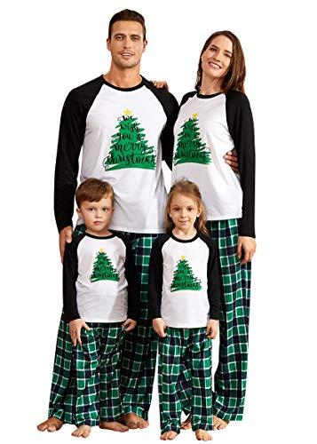 IFFEI Matching Family Pajamas Sets Christmas PJ's Holiday Christmas Tree Printed Sleepwear with Plaid Bottom 6-7 Years
