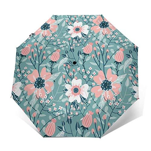 Paraguas automático de tres pliegues con cierre automático de rosa rosa rosa que puede prevenir el viento, la lluvia y los rayos UV.