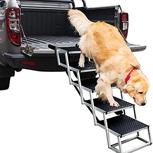 YZILXY Escaleras para Perros Plegables Portátiles para Perros Grandes, Rampa para Mascotas De Aluminio Liviano De 5 Pasos con Escalera Portátil De Superficie Antideslizante, Ideal para Camas Altas