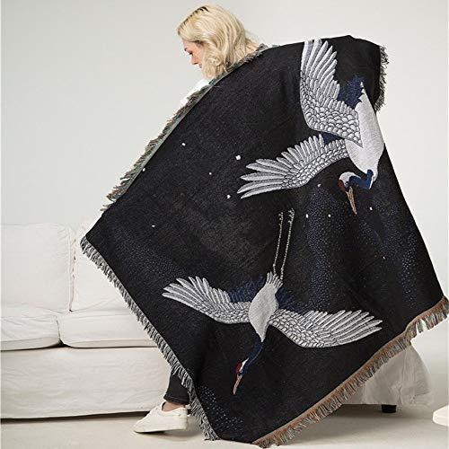 Japanische Retro Decke Rückenlehne Handtuch Tapestry Couch Abdeckung Klimaanlage Decke XXYHYQHJD (Color : Schwarz, Size : 120x150cm)