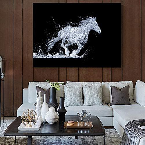 nobrand lopend paard watervorm spatten abstract canvas schilderij muurkunst druk schilderij decoratieve afbeelding woonkamer decor-60x90cm nee ingelijst