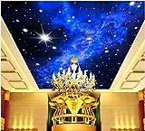 Rureng Papel pintado fotográfico personalizado Ktv 3D Star Hotels Techo Sueño Dormitorio Techo Estrellas Brillantes Mural Pared Mural de Pared Pintado 200X140Cm
