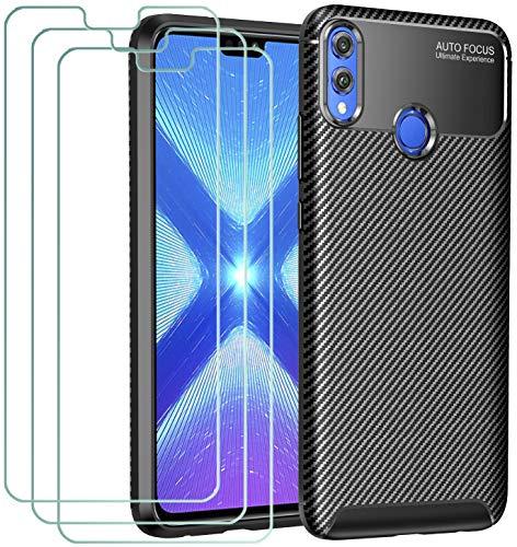 ivoler Hülle für Huawei Honor 8X, Handyhülle mit 3 Panzerglas Schutzfolie, Schwarz Stylisch Karbon Design Anti-Kratzer Stoßfest Schutzhülle Cover Weiche TPU Silikon Hülle