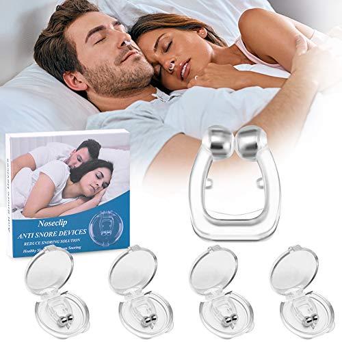Schnarchstopper 4er Set Nasenklammer gegen Schnarchen Schnarchschiene Nasenspreizer mit Magnet aus Medizinisches Material BPA-Frei Sofortige Anti Schnarch Hilfe inkl. Transportbox