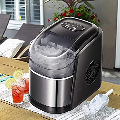 Tavata Countertop Portable Ice Maker Machine with Self-clean Function, 9 Ice Cubes ready in 6 Minutes,Makes 26 lbs of Ice per 24 hours,with self-cleaning program (BLACK)