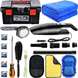 LIANXIN Car Cleaning Tools Kit -High Power Handheld Vacuum,Car Cleaning Tools with Soft Microfiber Cloth Towels, Car Wash Sponges,Car Wheel Brush with Handle, Car tire Brush.etc