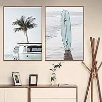 キャンバス絵画沿岸サーフィンビーチ熱帯の風景ポスター沿岸バスヤシの木の壁アート家の装飾画像-30x40cmx2フレームなし