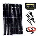 Giosolar Kit de Iniciación Solar monocristalina de 300 W con Controlador de Carga LED DE 30 A PWM para Todoterreno RV Boat Off-Grid Kit de Batería DE 12 V