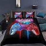 Loussiesd Juego de ropa de cama con diseño de Gamepad, funda de edredón para niños y hombres, ropa de cama decorativa, 155 x 220 cm, teclas de acción multicolor