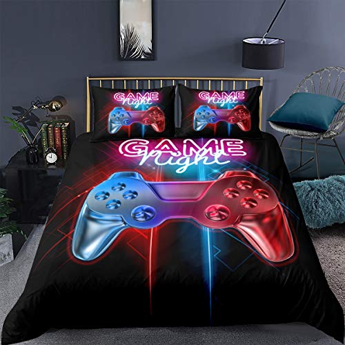 Loussiesd Double Gamer Printed Comforter Cover Set Multi-color Gamepad Duvet Cover Video Game Controller Bedding Set for Kids Teens Boys,Luxury Room Decoration 3 Pcs Bedding Set with 2 Pillow Case