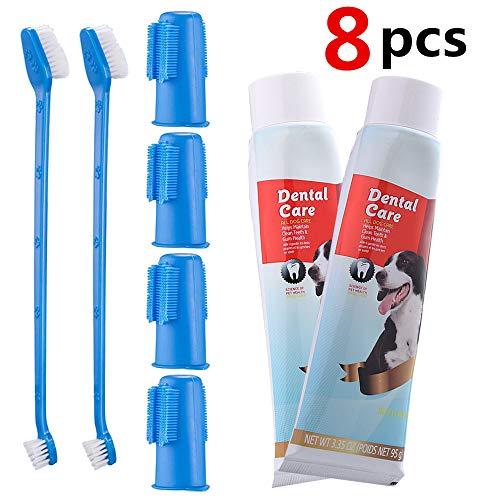 CooZero Dog Dental Care Kit, 2 Pack Dog Toothpaste and Dog Toothbrush Set...