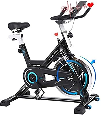FUNMILY Exercise Bike, Indoor Cycling Bike with 49LBS Flywheel and Sport APP Heart Rate Monitor, Adjustable Seat Handlebar, 380lbs Max Weight (Black)