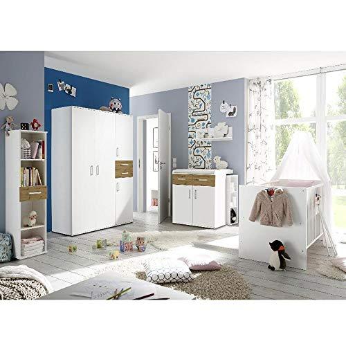 Babyzimmerset Sienna 8tlg weiß matt asteiche Komplett Set mitwachsend Gitterbett