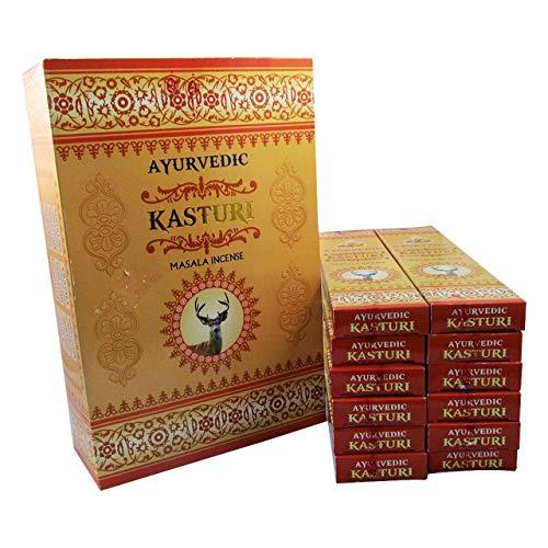 Ayurvédico : Incienso de Masala Kasturi (Almizcle Blanco) | Caja de 12 paquetes de 15 palos cada...