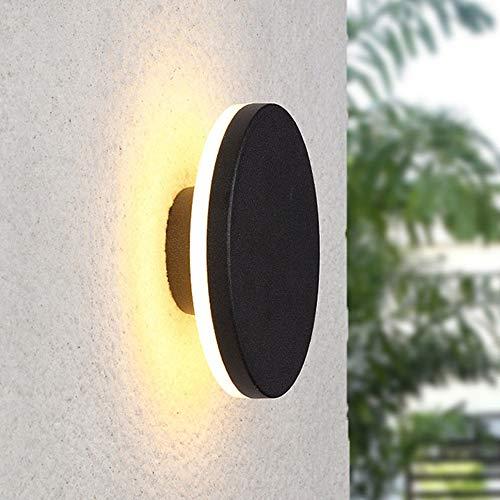 WHSS Luces de pared LED Negro redondo círculo lámpara de pared pasillo dormitorio comedor sala estudio balcón aluminio acrílico cálido amarillo luz postmoderno geometría simple minimalismo IP54