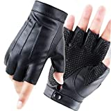 Fingerless Driving PU Leather Gloves - LJCZKA Outdoor Sport Faux Half Finger with Anti-slip Layer Glove For Men Women