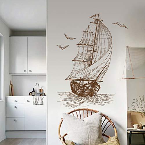 Gemalte Segelboot Wandaufkleber für Wohnzimmer Schlafzimmer Kinderzimmer Wandtattoo Wallpaper Poster
