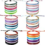 30 Pieces Friendship Bracelets Wave Handmade Braided Bracelet Waterproof Wax Coated Rope Bracelet Surfer Adjustable Bohemian Wrist Cord for Women Men Handcrafted Jewelry Party Accessories