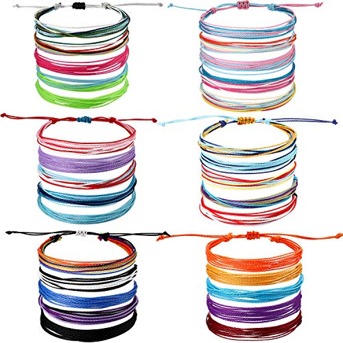 30 Pieces Friendship Bracelets Wave Handmade Braided Bracelet Waterproof Wax Coated Rope Bracelet Surfer Adjustable Bohemian Wrist Cord for Women Men Handcrafted Jewelry Party Accessories (Chic Style)