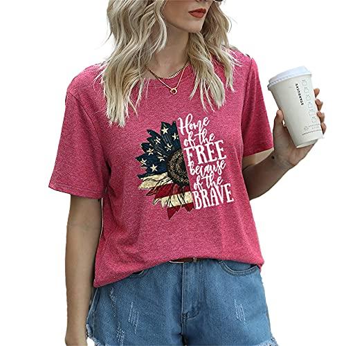 Mayntop Camiseta de manga corta para mujer con diseño de bandera de Estados Unidos, 4 de julio, B-Rosa rojo, 38