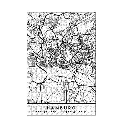 artboxONE-Puzzle M (266 Teile) Städte Hamburg Germany Black City MAP - Puzzle Hamburg Germany Hamburg