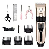 Zoyie Juego de afeitadoras eléctricas para Perros Kit de afeitadora para Gatos Juego de Aseo inalámbrico para Mascotas USB Cuchillas Desmontables Recortadores de Mascotas Lavables