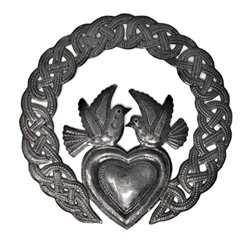 Royal Celtic Claddagh Ring, Friendship Wall Figurine, Metal Spiritual Plaque, Handmade in Haiti from Recycled Steel Barrels 9.5 In. X 9.5 In. (Celtic Heart)