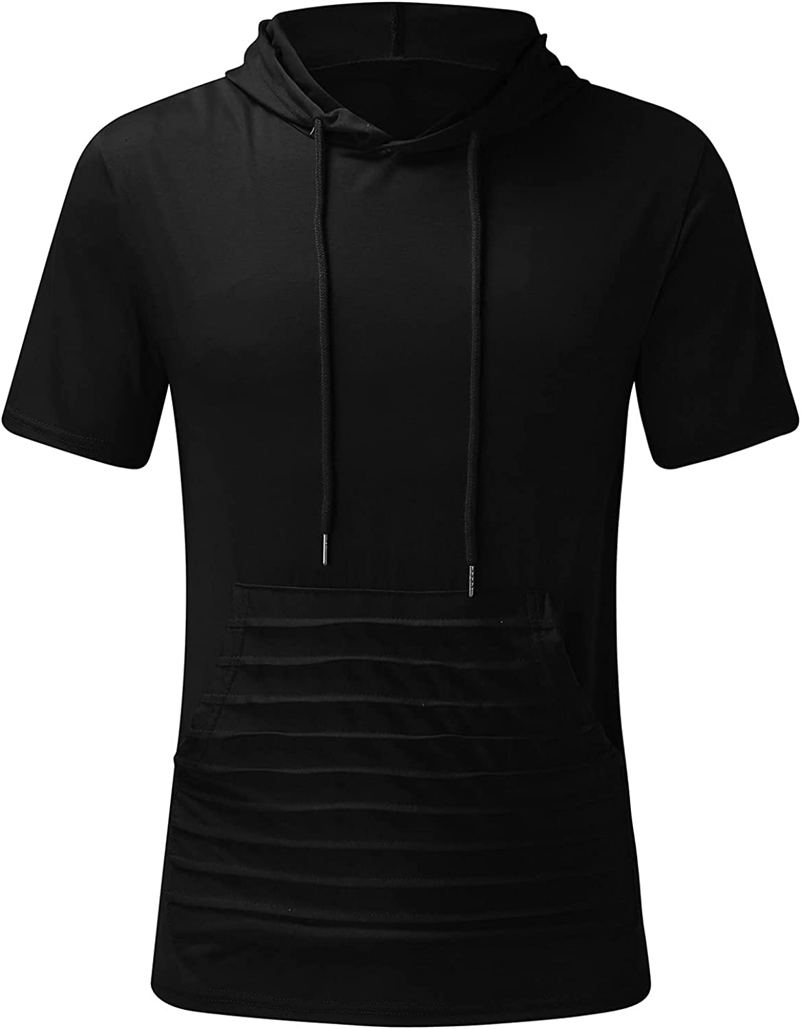 FUNEY Mens Fashion Athletic Hoodies Sport Sweatshirt T-Shirts Short Sleeve Solid Color Hip Hop Pullover Tops Summer Blouse