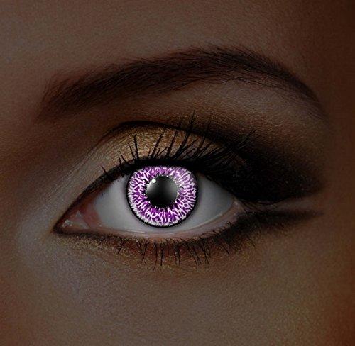 Funky Vision Kontaktlinsen I-Glow - 12 Monatslinsen, Amethyst UV, Ohne Sehstärke, 1 Stück
