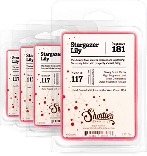 Shortie's Candle Company Stargazer Lily Wax Melts Bulk Pack - 4 Highly Scented Bars - Made with Natural Oils - Flower & Floral Air Freshener Cubes Collection