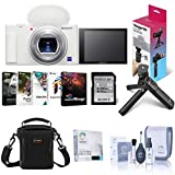 Sony ZV-1 Compact 4K HD Digital Camera, White Bundle Shooting Grip/Tripod, 64GB UHS-II SD Card, Bag, Corel PC Software Suite, Screen Protector, Cleaning Kit