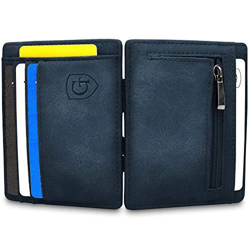 GenTo® Vegas Magic Wallet - Das Original - TÜV geprüft - Dünne Geldbörse mit Münzfach - Geschenk für Herren mit Geschenkbox - Smarter Geldbeutel - Slim Portemonnaie (dunkelblau -Soft)