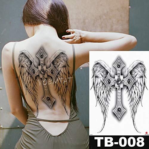 tzxdbh 48 * 35 cm Angelo Croce Ali Grandi Adesivi Tatuaggio Impermeabile Flash temporaneo Tatuaggi Pieno Indietro Ornato Gioielli Body Art
