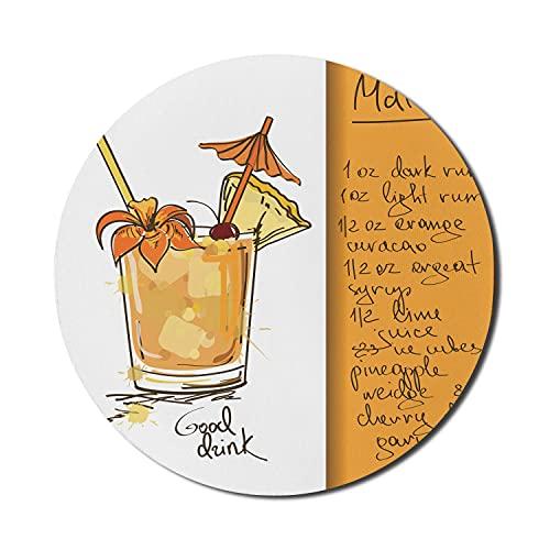 Tiki Bar Mauspad für Computer, handgezeichneter Mai Tai Cocktail in einem Glas und das Rezept Hawaiian Drink, rundes rutschfestes dickes Gummi Modern Gaming Mousepad, 8 'rund, orange und weiß