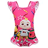 Toddler Girl Coco-Melon Bathing Suits for Girls One Piece Swimsuit 2t 3t Watermelon Cartoon Swimming Suit Kids Summer Cute Swimwear Backless Ruffle Sunsuit Tropical Hawaii Halter Beachwear Red