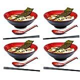 wsetrtg 4 Juegos de tazón de Ramen japonés de plástico Duro de melamina con Palillos y Cuchara a Juego