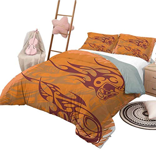 HouseLook Duvet Cover Set Printed Sports Nursery Bedding Sets Tribal Patterns Inspired Ball Distressed Motion Score Boho Players Backdrop Twin Size Orange Brown