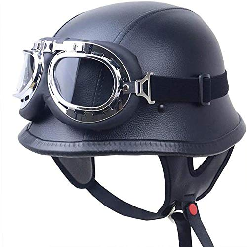 ZHXH Adulto Motocicleta Cara abierta Medio casco Cuero de PU