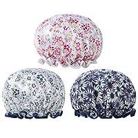 Pixnor 二重層シャワーキャップレースエラスティックバンド花プリント帽子美容サロンスパ3ピース